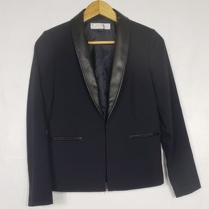 Tahari Black Blazer With Faux Leather Collar Sz 2